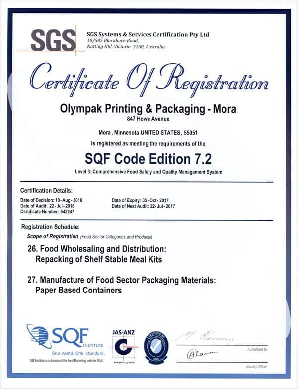 OlymPak Printing Certifications | SQF Level 3 & G7 Certifications
